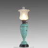 Turquoise Floral Aged Metal Converted Oil Lamp With Glass Shade