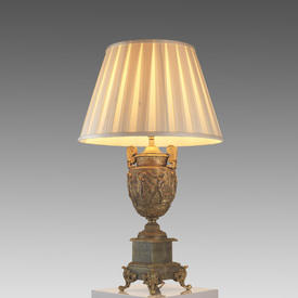 Gilt & Green onyx Based Ornate Urn Table Lamp with Silk Pleated Shade