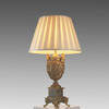 Gilt & Green Onyx Based Ornate Urn Table Lamp With Silk Shade