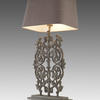 Ornate Iron Table Lamp With Rect Grey Shade