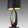 Black & Copper ' Obus ' Table Lamp With Oval Black Shade
