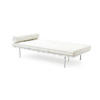 White Leather Buttoned Barcelona Day Bed/Chaise With Bolster