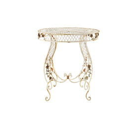 Circular White Rustic Metal Garden Table with Leaf Detail