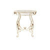 Circular White Rustic Metal Garden Table With Leaf Detail ( H: 77cm Diam: 70cm)