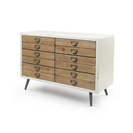 Distressed Cream & Wood 12 Drawer Sideboard
