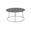 Grey Metal 'nimbis' Coffee Table On Gold Base (70cm X 36cm H)