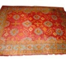 "13'6""  x  11'6"" Orange & Green Turkey Carpet"