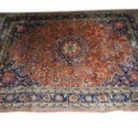 "11'5""  x  8'3"" Rust, Blue & Cream Pattern Hamadan Carpet"
