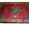 "14'2"" X 10' Red, Blue & Cream Hamadan Carpet  (Y)"