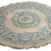 9' Cream & Light Blue Circular Carpet  (Y)