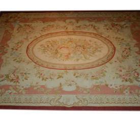 "9'11"" x  7'8"" Pink & Beige Rose Pattern Aubusson Carpet"