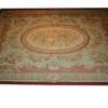 "9'11""X 7'8"" Pink & Beige Rose Pattern Aubusson Carpet  (Y)"