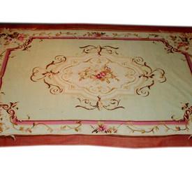 11'  x  7' Pink & Beige Rose Pattern Aubusson Carpet
