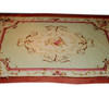 11' X 7' Pink & Beige Rose Pattern Aubusson Carpet  (Y)