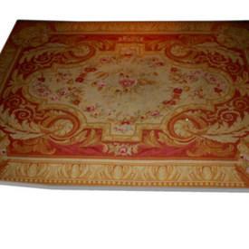 "12'  x  8'6"" Pink, Beige & Cream Aubusson Carpet"