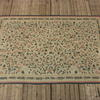 9' X 6' Blue, Cream & Pink Leaf Pattern Cotton Carpet  (Y)