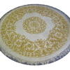 6' Gold & Off White Circular Rug  (Y)