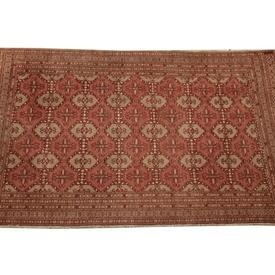 "6'8""  x  4' Pink & Beige Patterned Silk Persian Rug"