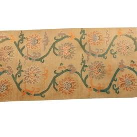 6'  x  3' Beige & Green Flower Pattern Kirman Rug