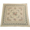 5' X 5' Cream & Blue Flower Pattern Aubusson Style Rug  (Y)