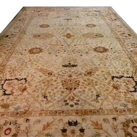 "24'9"" x  15' Cream, Green & Pink Floral Decor 'Agra' Carpet"