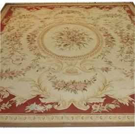 10'  x  8' Red & Cream Rose Pattern Aubussion Carpet