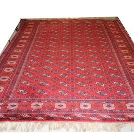 "13'  x  10'2"" Ruby Red, Black & Cream Antique ""Turkoman"" Carpet"
