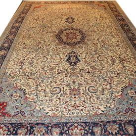 "19'6""  x  12'4"" Cream, Blue & Red Floral 'Royal Jaipur' Carpet"