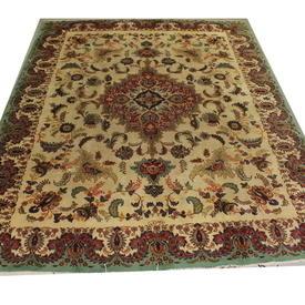 "12'10""  x  9'10"" Cream, Green & Red ""Old Tabriz"" Floral Carpet"