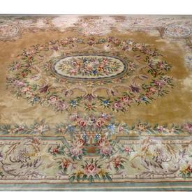 "15'6"" x 12' Cream French Style Flower Design Carpet"