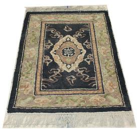 3' x  2' Black, Green & Fawn Oriental Style Slip Mat