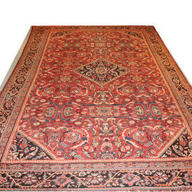 "17'  x  10'6"" Salmon Pink, Cream, Blue & Blk Antique ""Mahal"" Carpet"