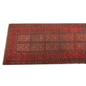 9' x  4' Red & Black Afghan Style Runner
