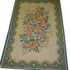 "9' X 5'10"" Cream & Blue Flower Pattern Aubusson Style Carpet  (Y)"