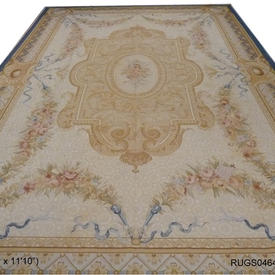 "18'2"" x  11'10"" Cream & Gold Rose Garland Aubusson Carpet with Centre Medallion, Blue Border"