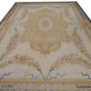 "18'2""X 11'10"" Cream & Gold Rose Garland Aubusson Carpet With Centre Medallion, Blue Border. (Y)"