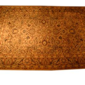 12'  x  9' Beige, Green & Black Pattern Carpet