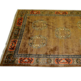 "11'6""  x  8' Brown & Orange Oriental Pattern Carpet"