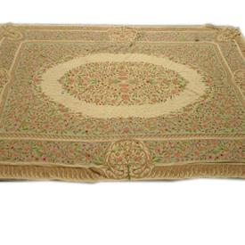 "11'6""  x  8'8"" Beige, Fawn & Pink Flower Pattern Cotton Carpet"