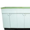 Pale Grey & Teak Formica/Chrome Handle 50's 1600 12 Door/3 Island Base Unit With Green W/Top