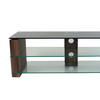 Vmf Blk Glass Top Walnut Side Atlanta 2 Tier Tv Stand