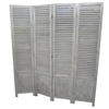 Grey/White Wash Louvre 4 Fold Screen