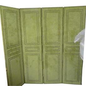 Green Suede Brass Studded 4 Fold Screen