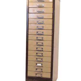 Brown Cream  Metal 15 Drawer Card Index Cabinet