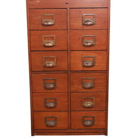 Period Teak 108cm X 61cm 12 Drawer Index Cabinet