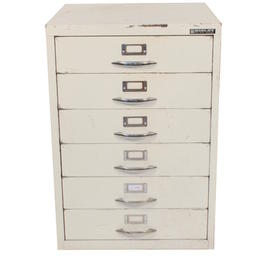 6 Drawer White Metal  Card Index Cabinet