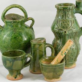 Green Pottery Jugs And Mugs
