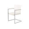 White Wooden & Silver Dining Chair With White Leather Seat ( H: 86cm W: 54cm D: 50cm )