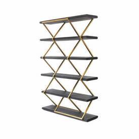 Gold Zig Zag Shelf Unit with Black Ash Shelves