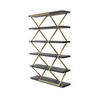 Gold Zig Zag Shelf Unit With Black Ash Shelves (120 Cm X 38 C Mx 183 Cm H)